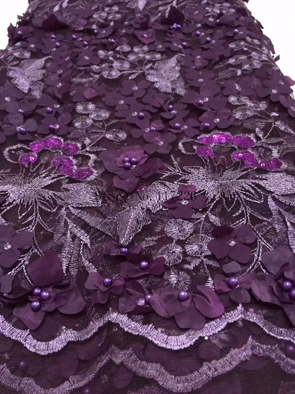 7680a3059a4a Cheap Lace, Buy Directly from China Suppliers:Dark Purple french material  for women dress 3D appliqued tulle lace fabric Embroidered net french lace  fabric ...
