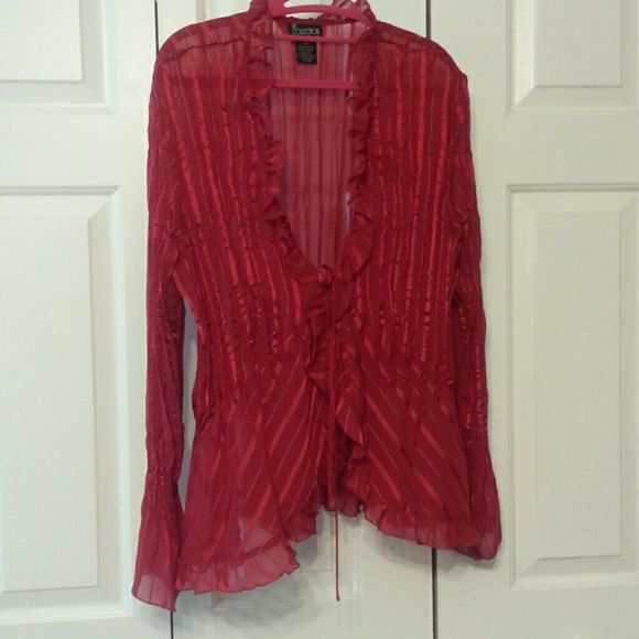 NY Collection Red Shear Blouse Very sexy sheer red blouse.   Size 2X. NY Collection Tops Blouses