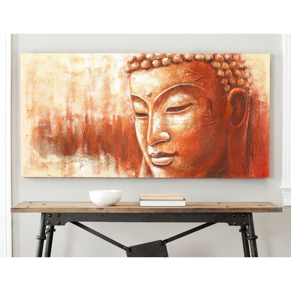 Tremendous 27 6 In X 55 1 In Orange And White Buddha Painting Wall Home Interior And Landscaping Eliaenasavecom