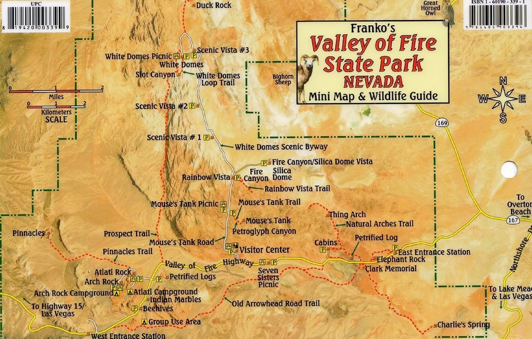 Valley Of Fire State Park Nevada Mini Map And Wildlife Card By