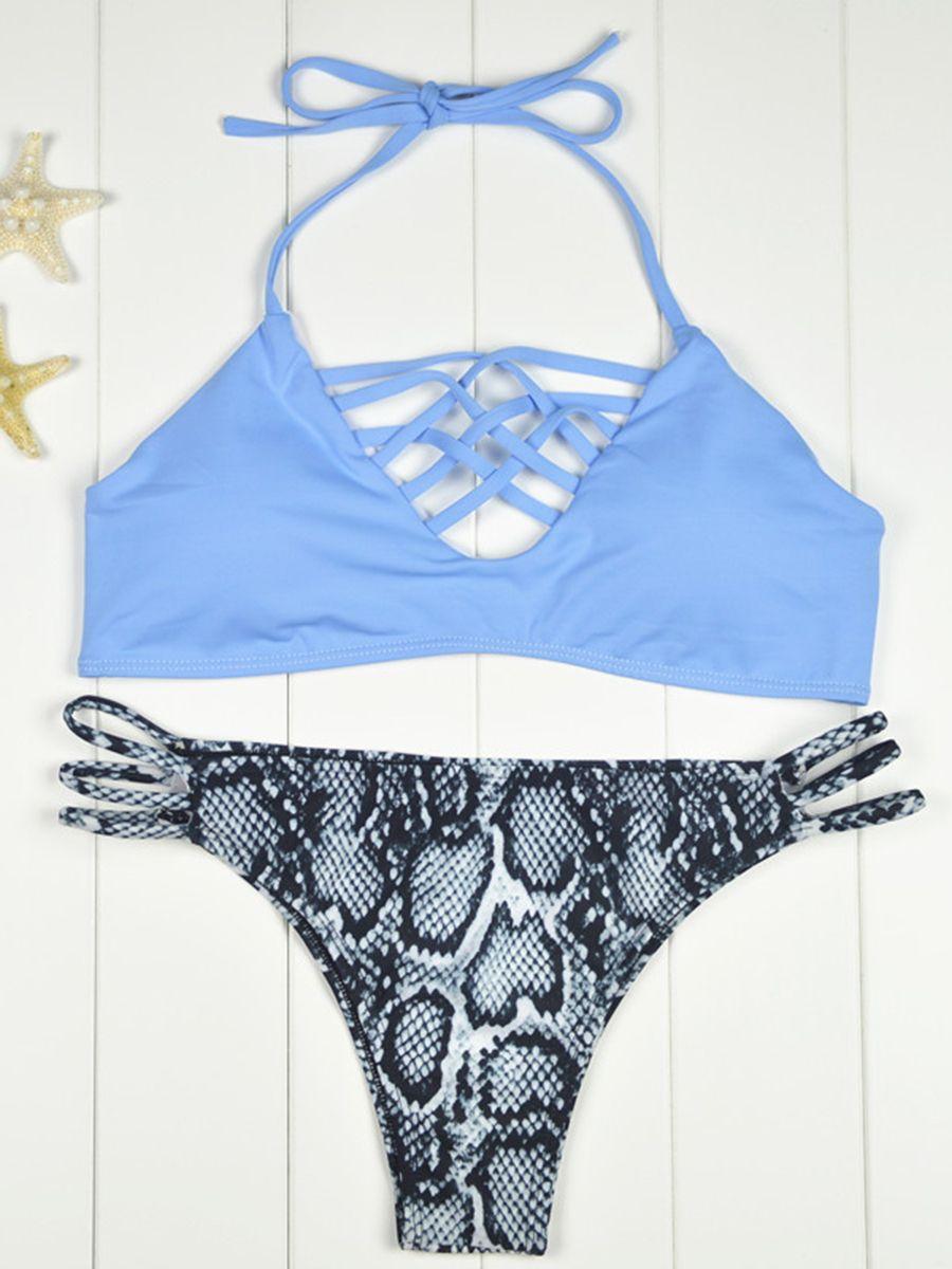 Glorious Zaful 2017 Woman Bikinis Sexy Bandage Swimsuit Swimwear Halter Brazilian Bikini Beach Bathing Suits Biquini Maillot De Bain Fashionable Patterns Back To Search Resultssports & Entertainment Swimming