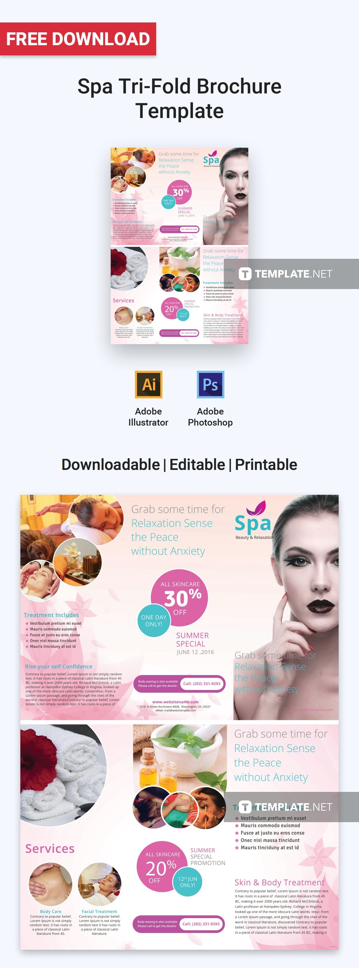 Download this striking trifold brochure template that