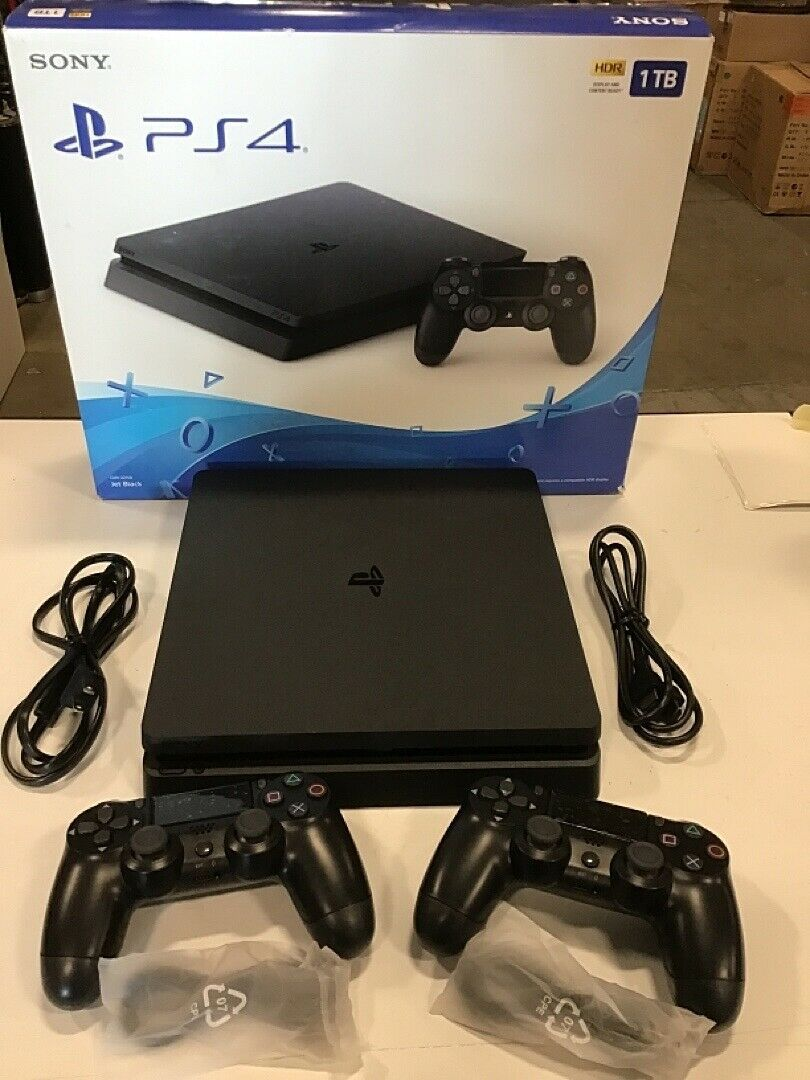 1tb Sony Playstation 4 Slim Black Video Game Console Ps4 System 2 Controllers Ps4 System Blacked Videos Video Game Console