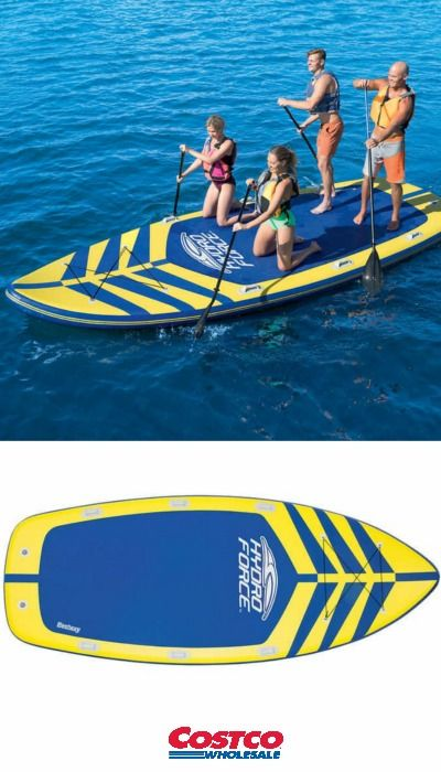 When Inflated The Board Is Over 17 Feet Long And Designed To Hold 6 8 People Making It More Fun Than Any Exe Paddle Boarding Standup Paddle Paddle Board Yoga