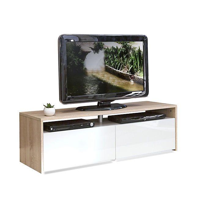 Longo Meuble TV coloris blanc et chêne 2 tiroirs Idées pour la