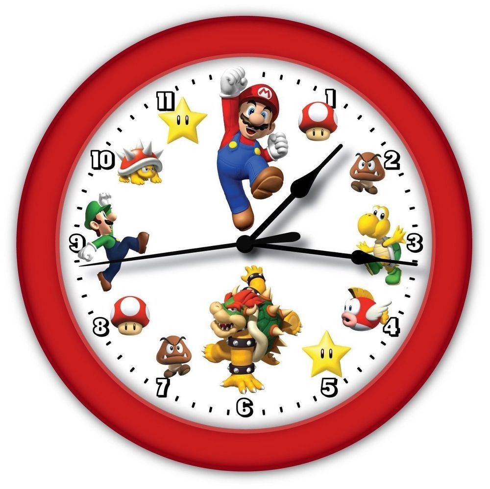 Super mario brothers game wall clock red frame boy girl super mario brothers game wall clock red frame boy girl bedroom decor gift amipublicfo Images