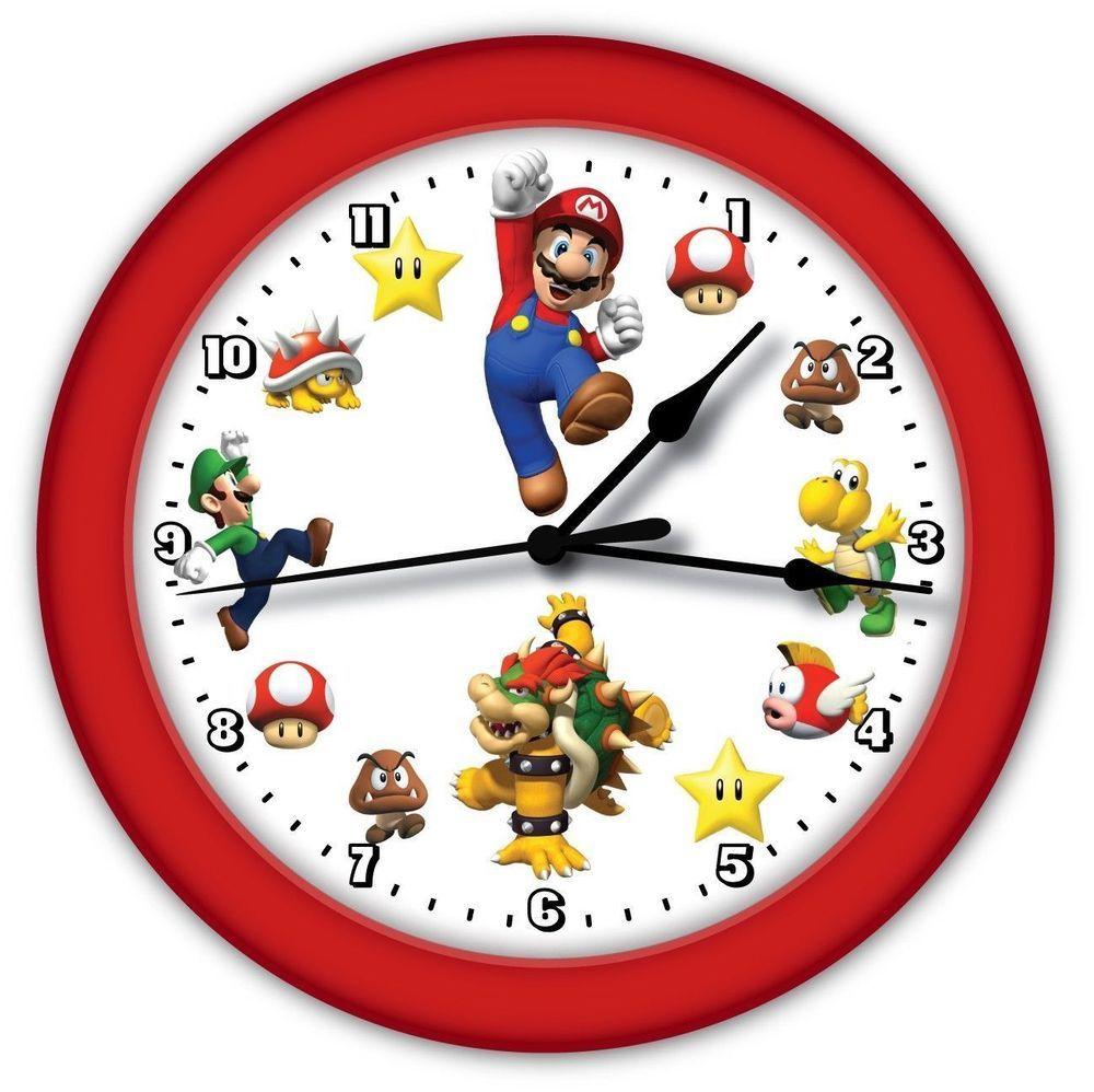 Super Mario Bros Bedroom Decor Super Mario Brothers Game Wall Clock Red Frame Boy Girl