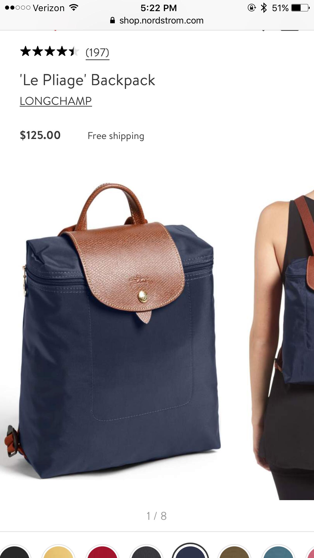 Le Pliage  Backpack LONGCHAMP Color  Navy m.shop.nordstrom ... ca381f8771ba8