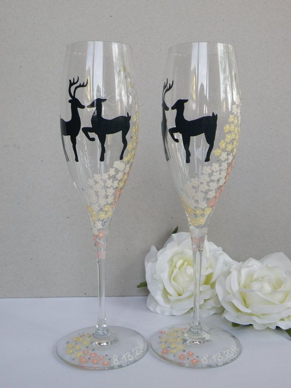 Hand Painted Wedding Toasting Flutes Set Of 2 Personalized Champagne Gles Two Deers