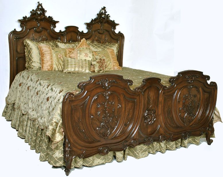 Antique French King Size Louis XV Walnut Bed | Antique Bedroom ...