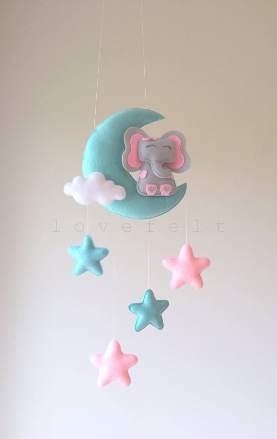 Baby mobile  moon mobile  elephant mobile  moon and stars