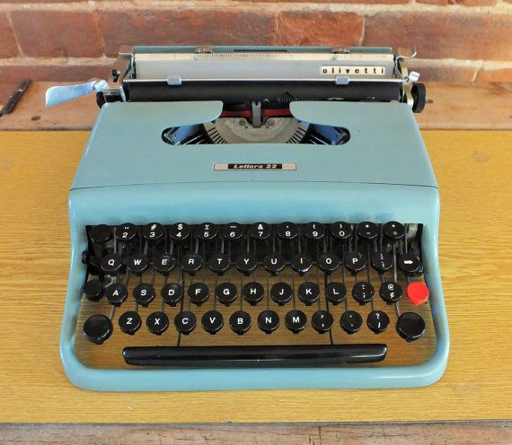 1950s Italian Olivetti Lettera 22 Typewriter - Retro Muted Green / Blue Colour - With New Black and Red Ribbon - Ready To Use