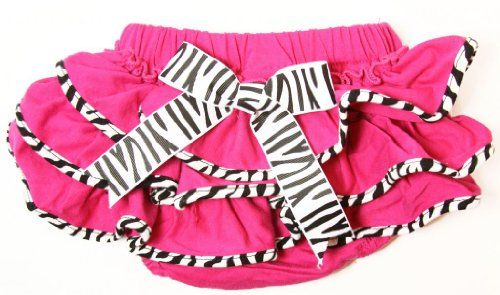 Zebra Diaper Cover with Hot Pink Ruffles