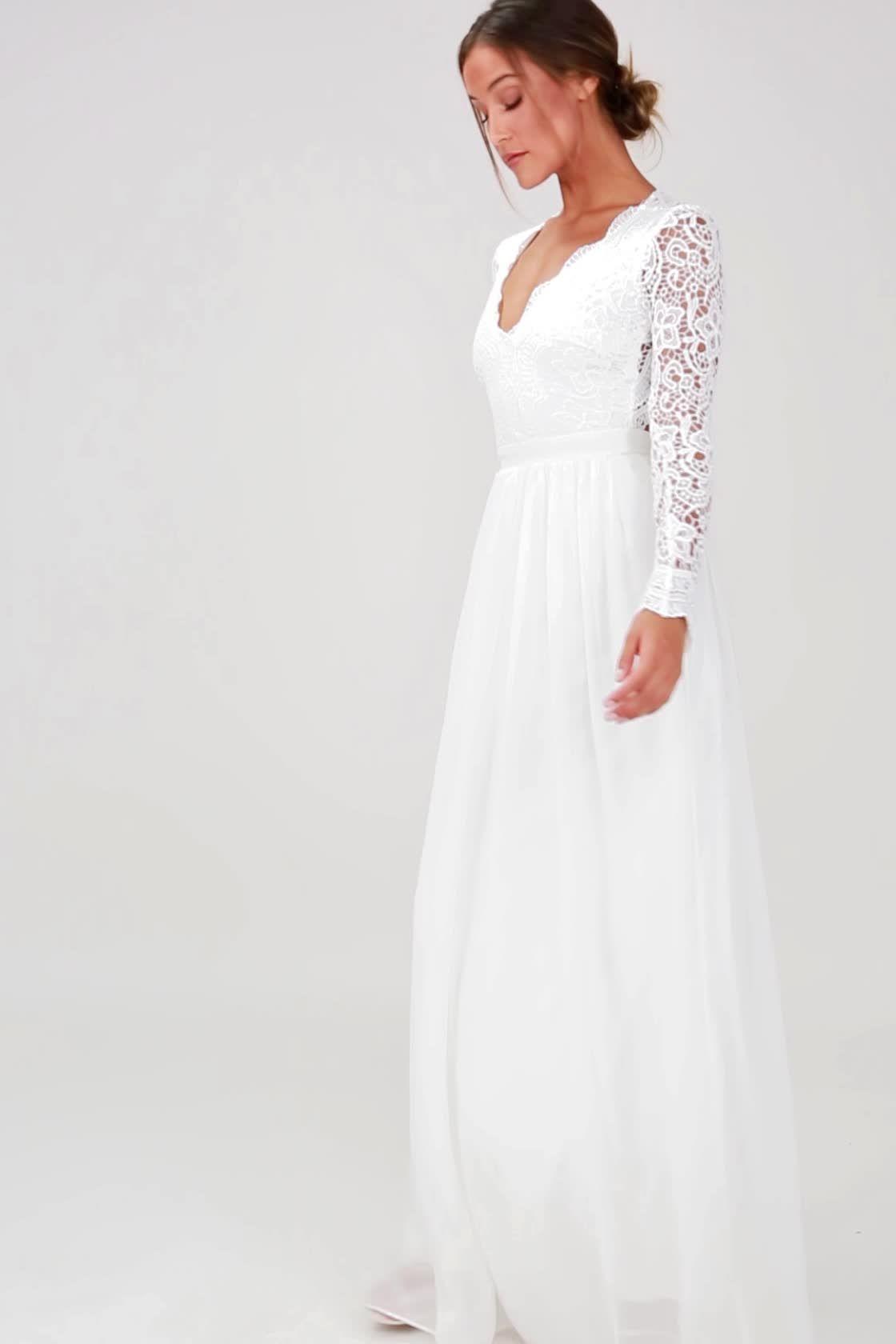 Awaken my love white long sleeve lace maxi dress spending forever