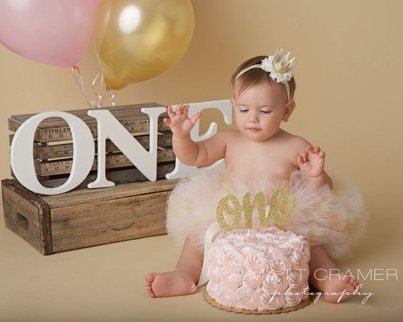 SMASH CAKE OUTFIT Tutu and Crown Set Ivory Gold by LilPinkGoose