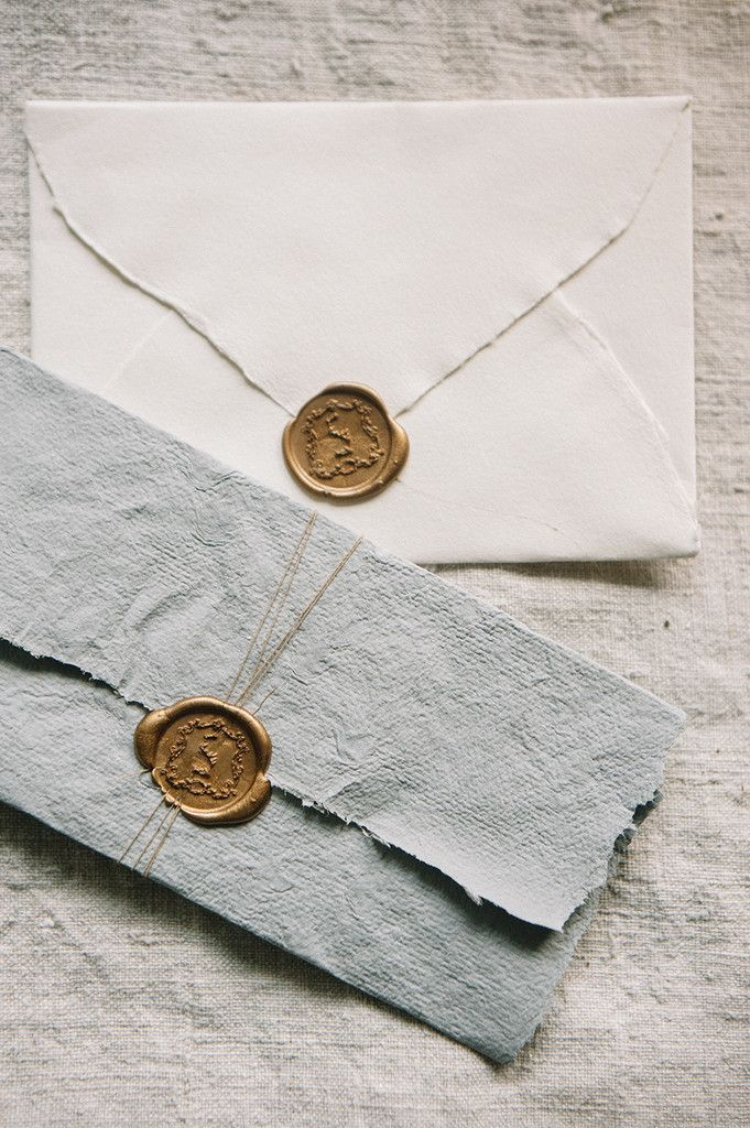 Gold/wax seal with rag paper for wedding invitations ...