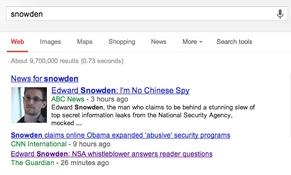 SERP Query Snowden
