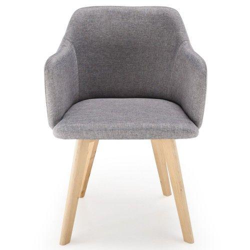 La chaise style scandinave Candy Tissu Gris vue de face