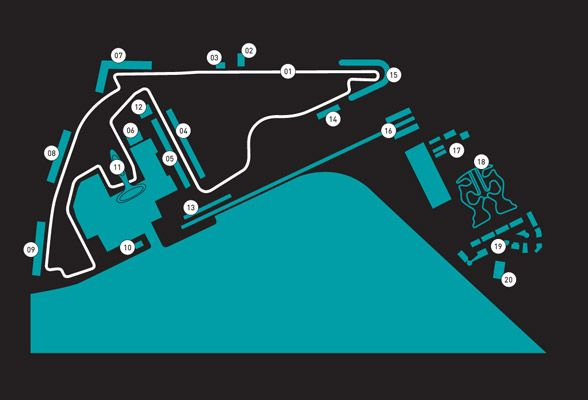 The amazing F1 Yas Marina Circuit, in Abu Dhabi