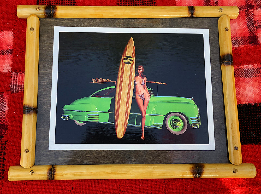 SURF PIN UP GIRL HOT ROD STUDEBAKER FRAMED BAMBOO TIKI DECOR ART