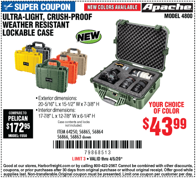 APACHE 4800 Weatherproof Protective Case for 43.99