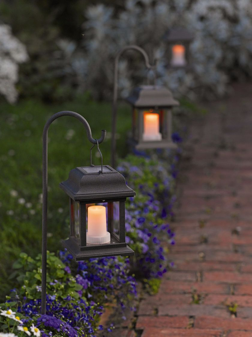 Lanterns On Shepherd Hooks Along Driveway Walkway Solar Lights Garden Backyard Lighting Front Yard