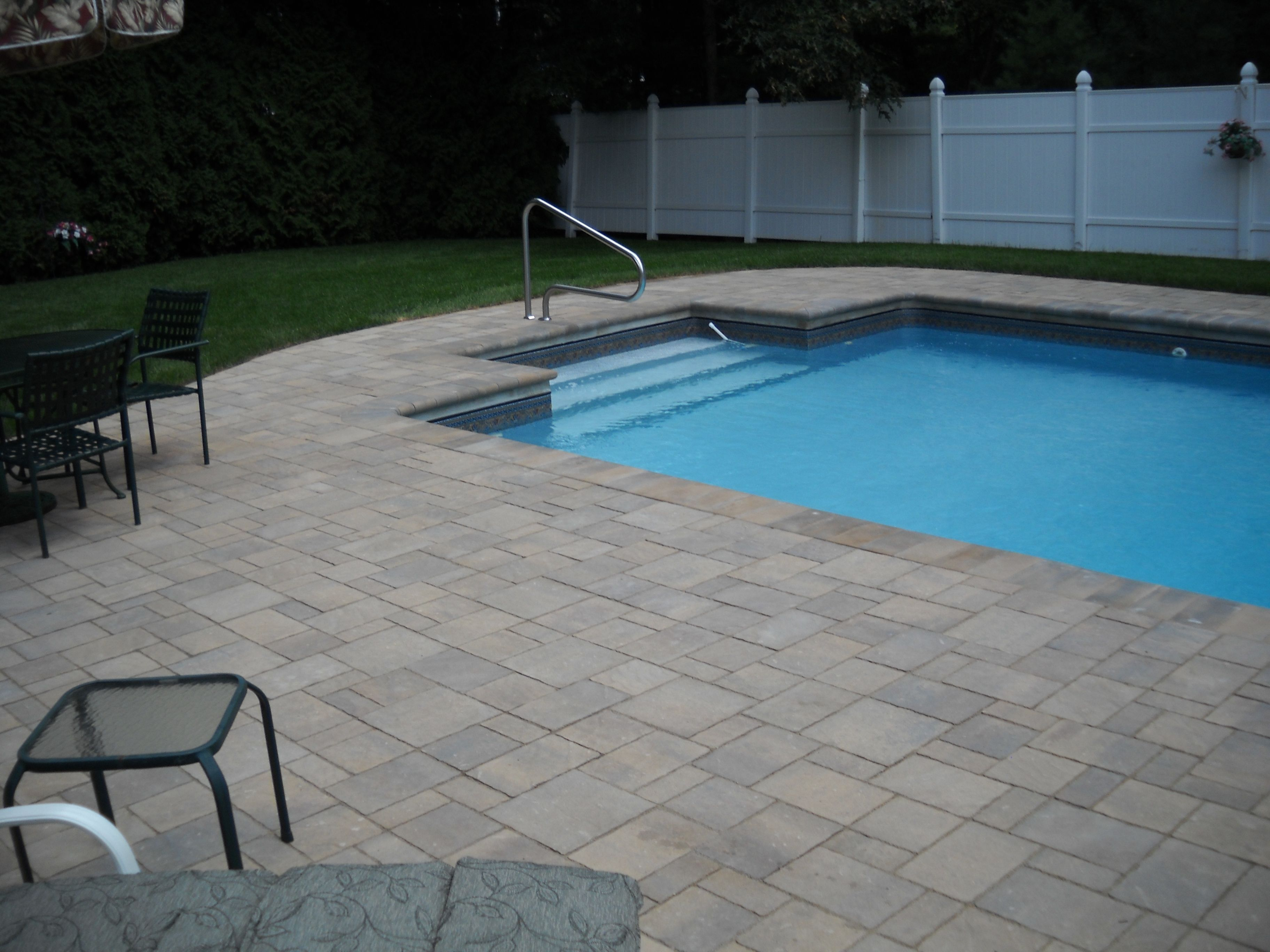 Paver Pool Deck Over An Old Concrete Deck Concrete Pool Pool Pavers Pool Deck