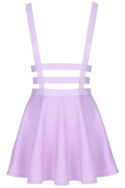 d32ca037757 Hollow-out Pleated Zippered Purple Suspender Skirt in 2019