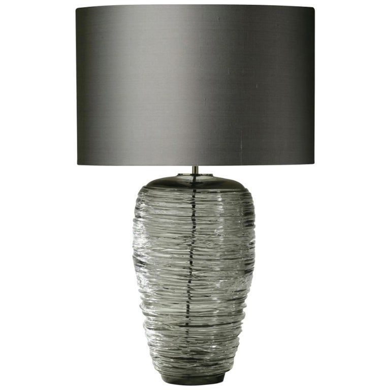 Contemporary Grey Glass Table Lamp With Silk Lampshade In 2021 Lamp Table Lamp Table Lamp Lighting