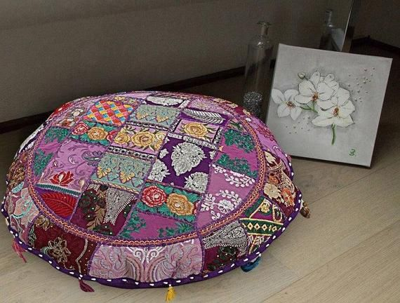 Large Floor Cushion Patchwork Floor Cushions Indian Round Pillow Case Bohemian Newly Ottoman Pouf Co