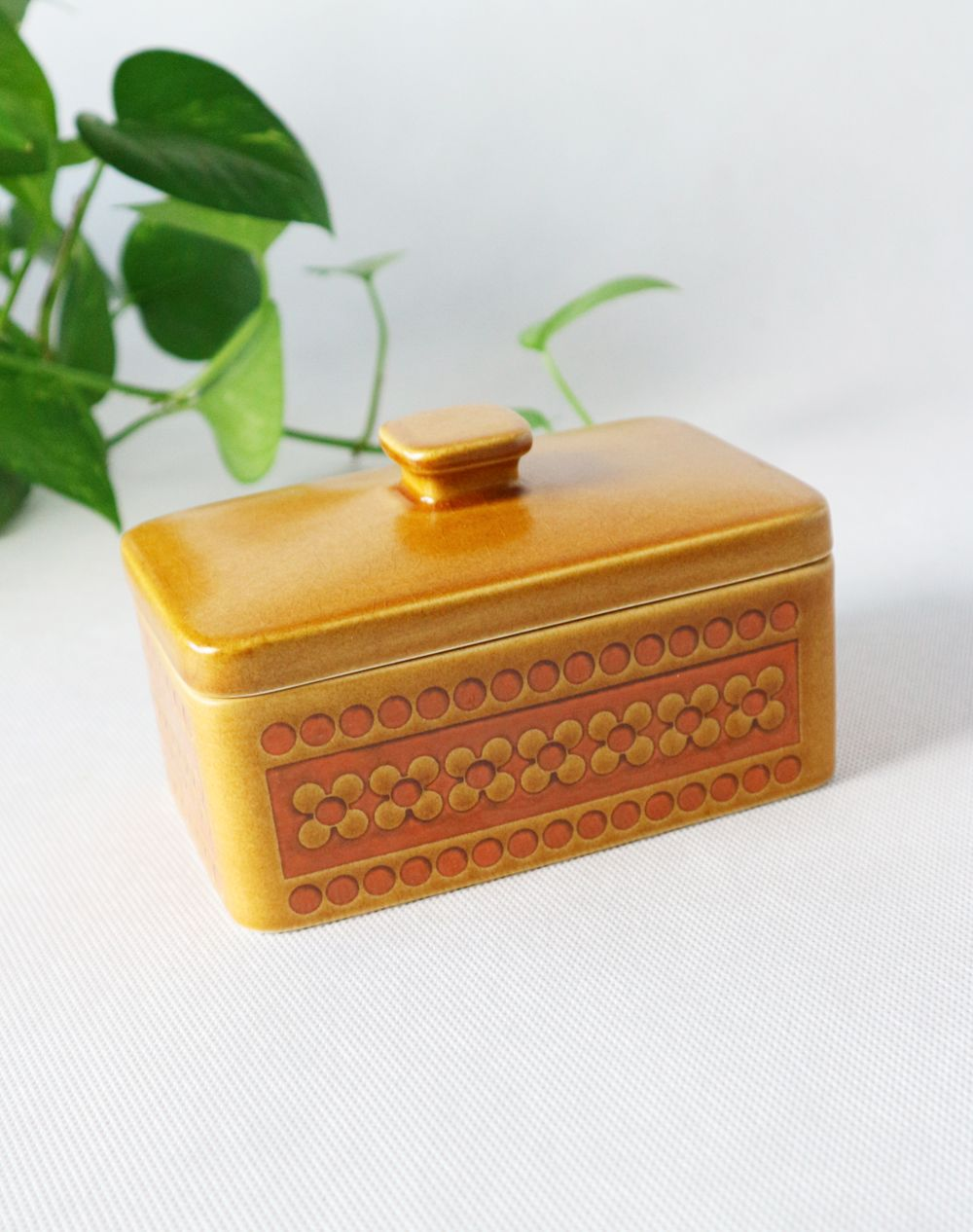 Hornsea Saffron Lidded Butter Dish Mid Century Modern