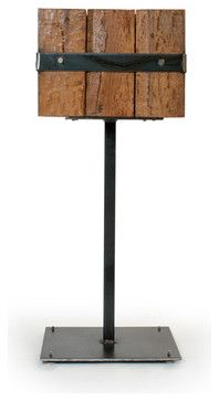 Bon  Justin Real  Reclaimed Oak Beam Accent Table   Rustic   Nightstands And  Bedside Tables