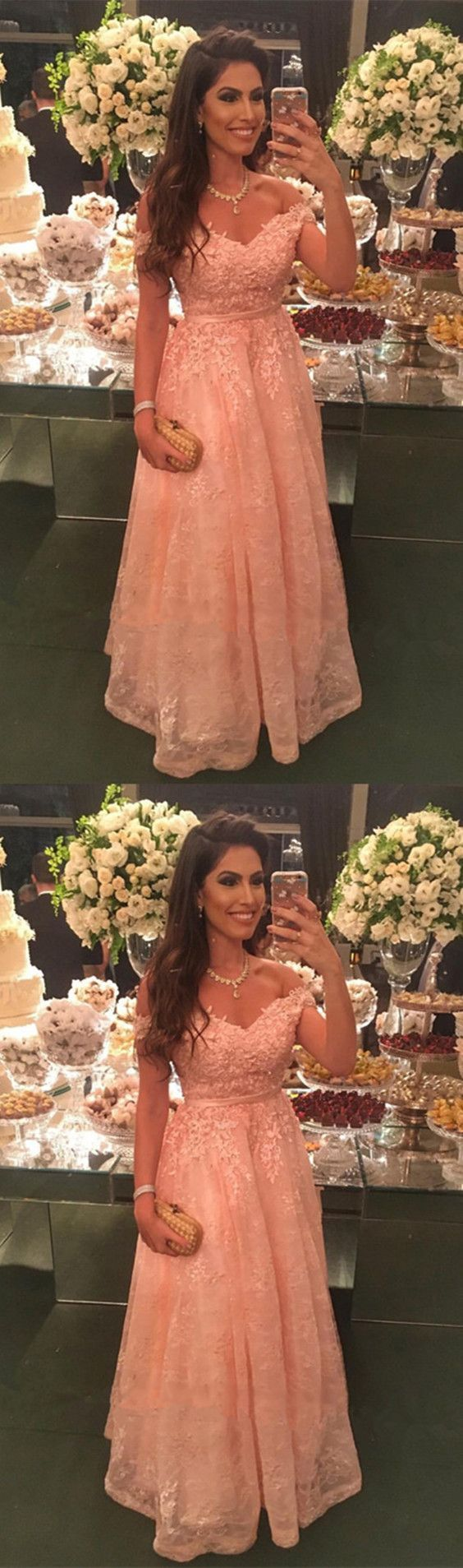 Elegant peach lace floor length evening dresses hiprom prom