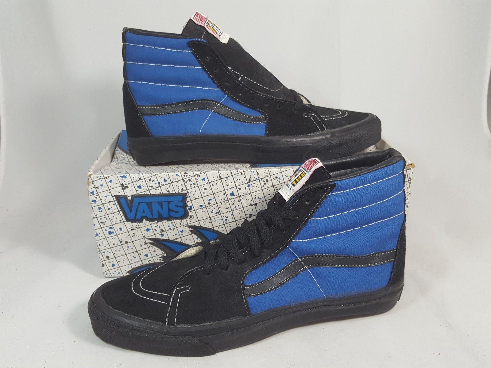 a8a95a9e38c5 Vintage Vans shoes SK8 HI BLUE BLACK made in USA Men s Size 11 NOS Old Skool
