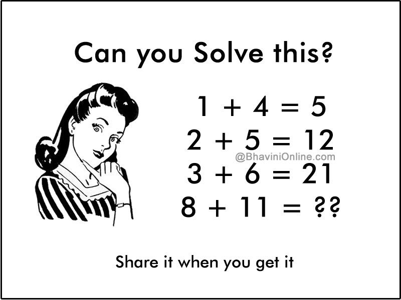 Fun Maths Riddle If 1 4 5 Then 8 11 Bhavinionline Com Math Riddles Riddles Fun Math