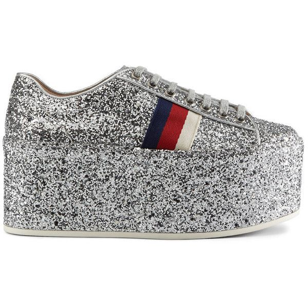 Gucci Women's Peggy Glitter Platform Sneakers (101710 ALL) ❤ liked on Polyvore featuring shoes, sneakers, silver, low top platform sneakers, low profile sneakers, gucci shoes, silver sneakers and glitter platform sneakers