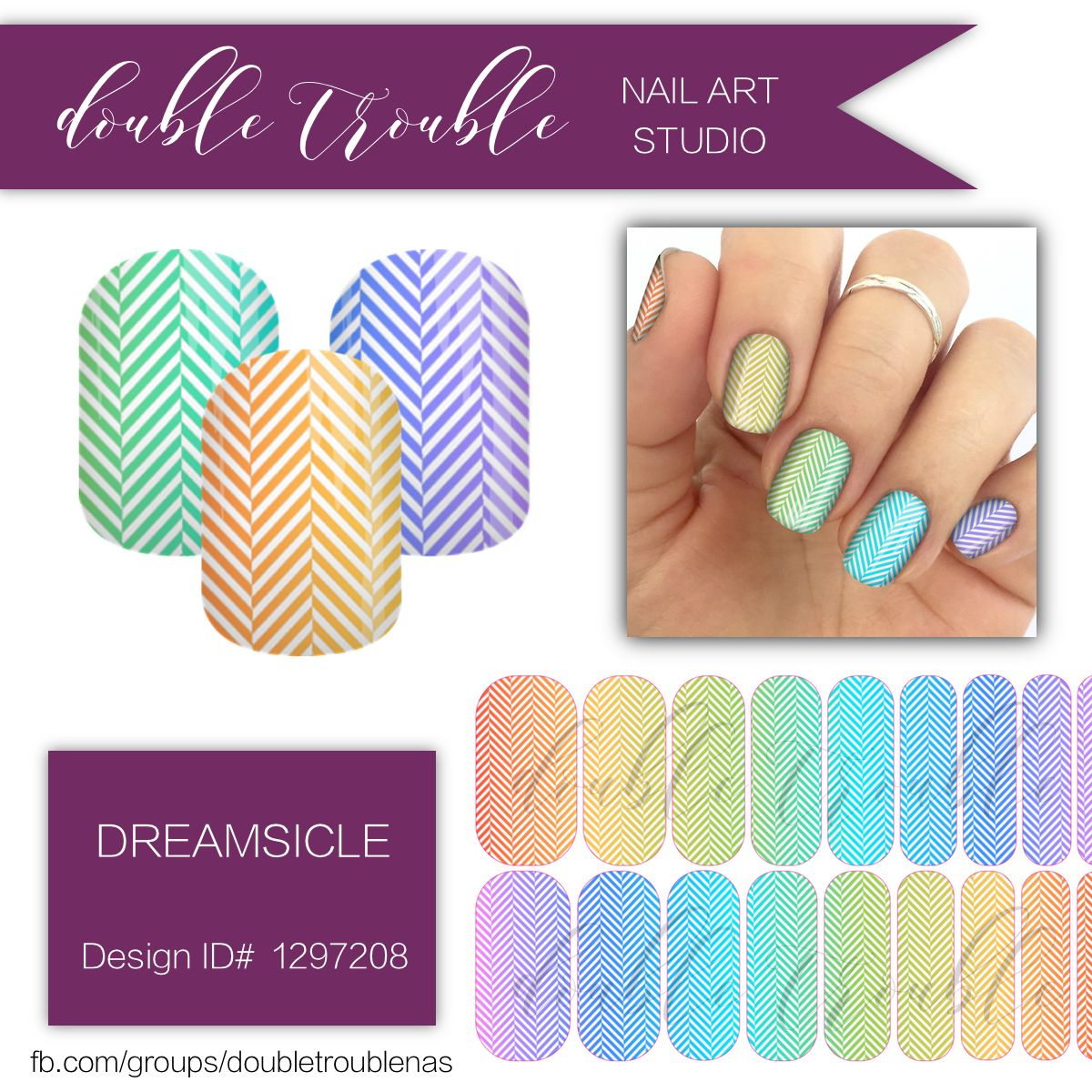 Dreamsicle Rainbow Multicolor Herringbone Nail Art Jamberry Nail
