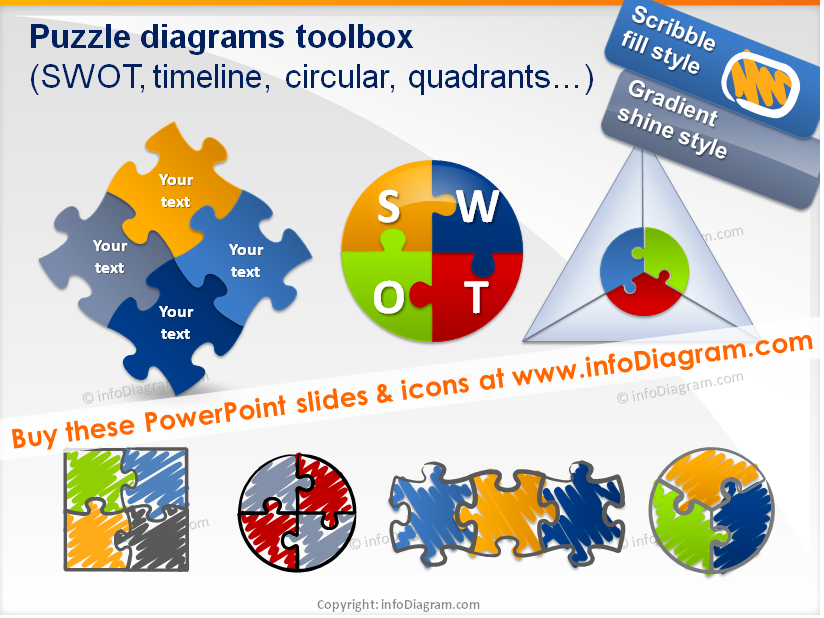 Puzzle toolbox for integrity diagrams (PPT clipart shapes ...