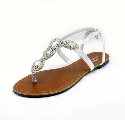 Formal Flat Silver Sandals For Wedding Las Patent With Heavy Diamante Studding