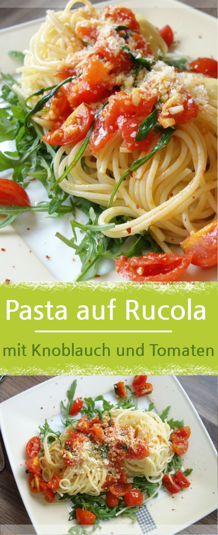 Photo of Delicious pasta on arugula with tomatoes and garlic