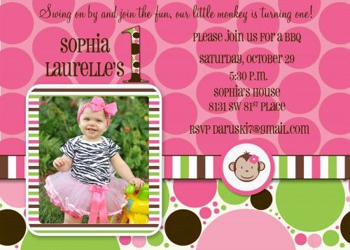 Mod monkey themed birthday idea invitation with photo party girl mod monkey printable first birthday invitation filmwisefo Gallery