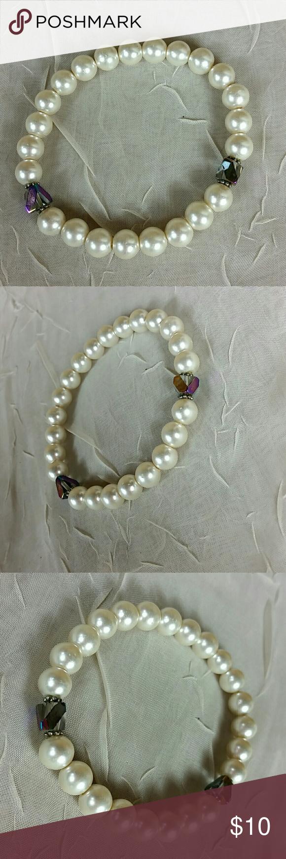 Faux IvoryCrystal Stretch Bracelet