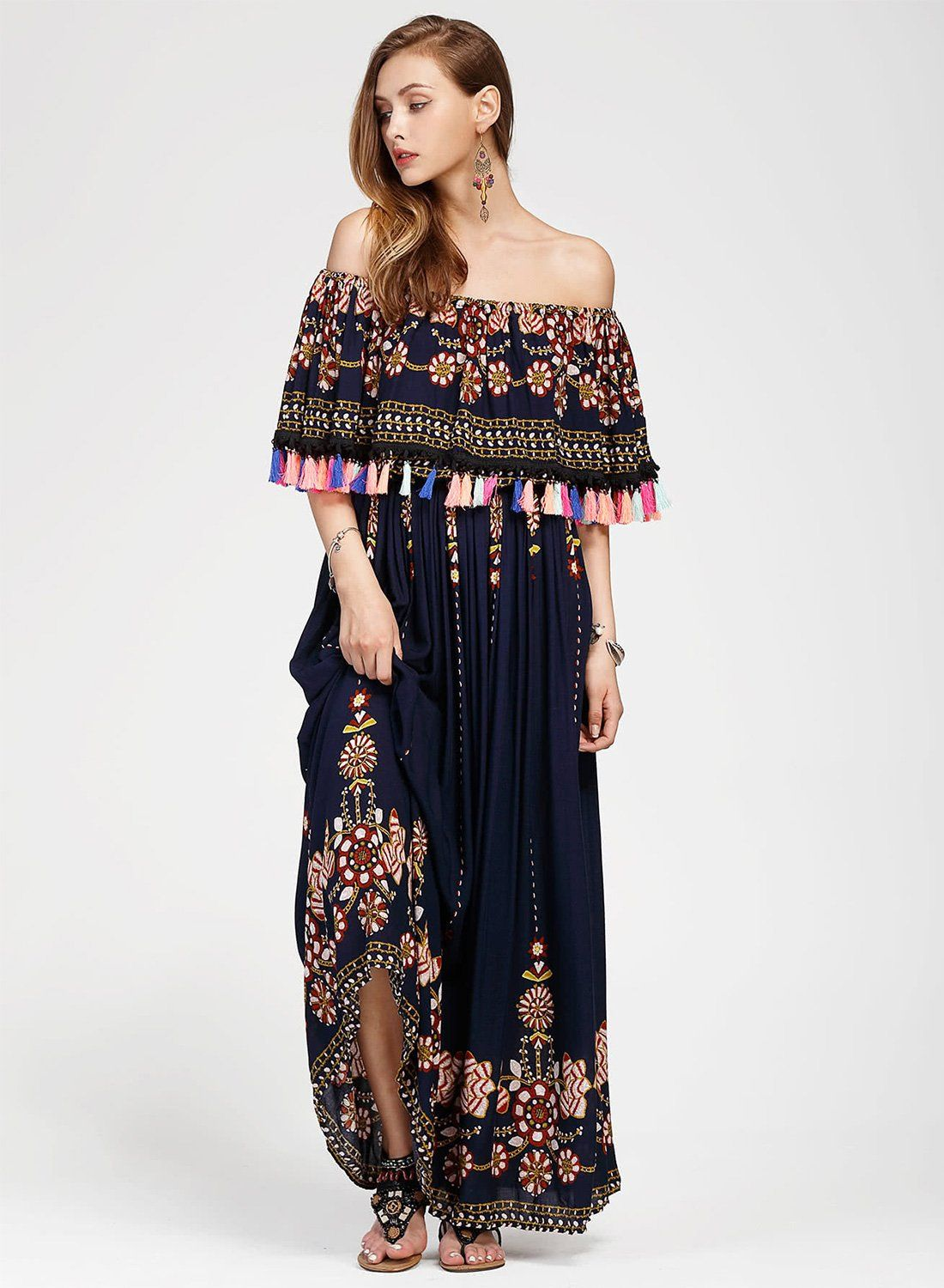9b89ae8a94c Women s Fashion Boho Floral off Shoulder Maxi Dress