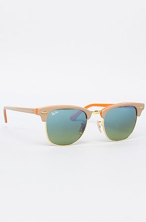 Ray Ban Sunglasses 49 mm Clubmaster in Beige & Orange