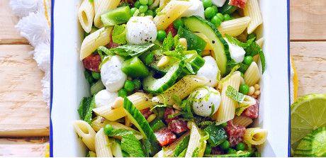 Veggie-Packed Pasta Salad with Salami and Mozzarella