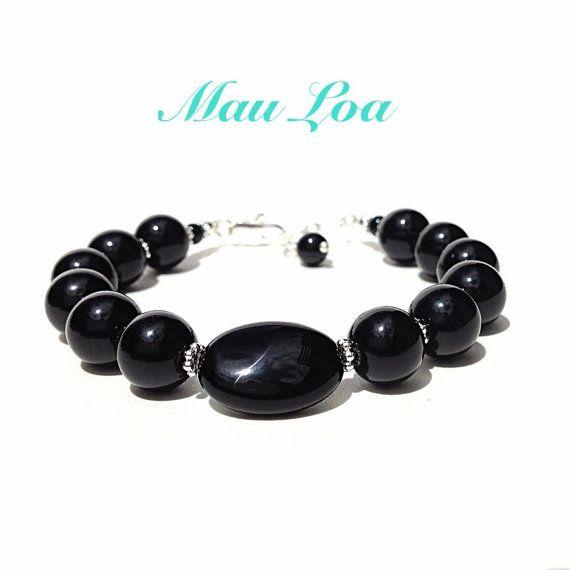 Black onyx bracelet  all sterling silver  fine by MauLoaJewelry, $48.00
