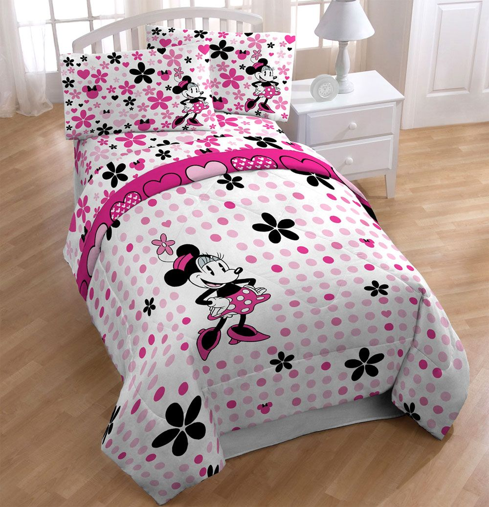 minnie mouse daisy twin bedding set  disney floral dots