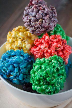 How to Make Rainbow Popcorn Balls With Marshmallow #popcornballs