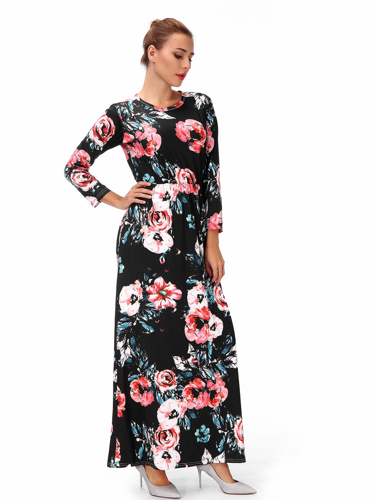 Women S Maternity Hight Waistline Long Sleeve Maxi Dress Ink Painting Floral With Pocket Ad Waistline Aff Maxi Dress Long Sleeve Maxi Dress Warm Dresses [ 2000 x 1500 Pixel ]