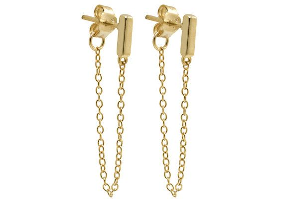 Gold Bar Earrings Chain Tiny With